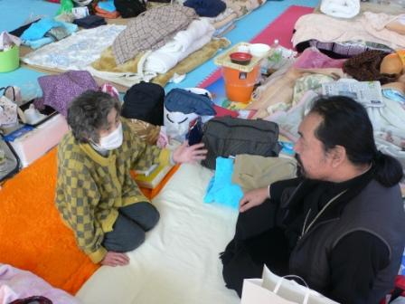 Bp. Seraphim visited Irina Chiba at the shelter in Yamada. Her house was swept away.