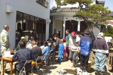 Ishinomaki, a man near the window is Fr. Vasili Taguchi