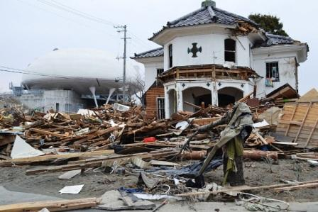 The old church building (now museum) was destroyed by tsunami.