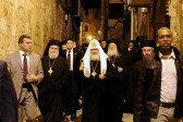 Primates of Orthodox Church of Jerusalem and Russian Orthodox Church celebrate Divine Liturgy at the Church of the Holy Sepulchre