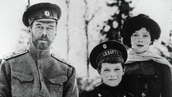 Russian Emperor Nicholas II with son Alexei and daughter Maria