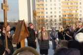 Prayers made for increase of love held at the desecrated cross in the Moscow Lyublino district