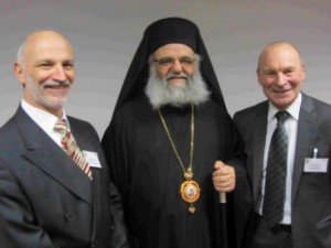 L-R: Chair of governors Yiannis Pareas, Bishop Athanasios and headteacher Robert Ahearn at North London Business Park