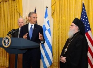 U.S President Barack Obama and Vice-President Joseph Biden with Archbishop Demetrios at a White House celebration for Greek Independence Day on April 18.