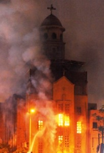 Coptic church burns during the 2011 Imbaba riots