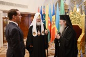 Prime minister Dmitry Medvedev meets with Primate of the Orthodox Church of Jerusalem
