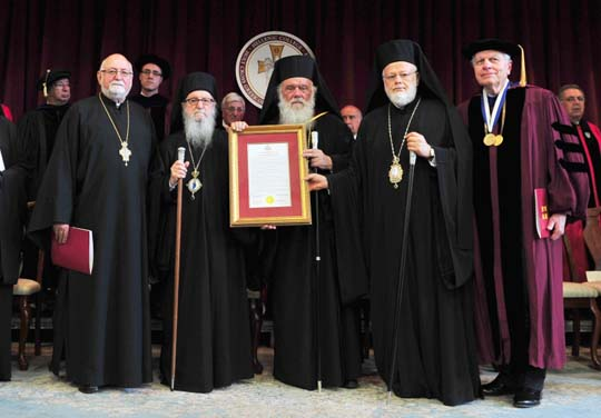 (L to R) Fr. Nicholas Triantafilou, Archbishop Demetrios of America, Archbishop Ieronymos of Athens and All Greece, Metropolitan Methodios of Boston, and Dr. Thomas Lelon, vice-chair of the Board of Trustees. (photo © Dimitrios Panagos/GOA)