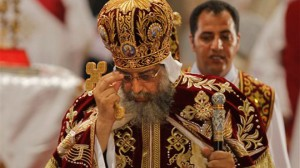 Pope Tawadros II, the 118th pope of the Coptic Church of Egypt, leads the Easter Mass at St. Mark's Cathedral in Cairo, Egypt