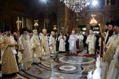 Primates of the Orthodox Churches of Greece and Russia celebrate Divine Liturgy at the Church of St. Panteleimon in Athens