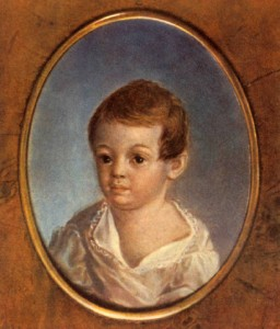 Portrait of A. S. Pushkin by Xavier De Maistre (1800-1802. Oil on metal plate. The State Pushkin Museum, Moscow.