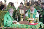 On the Day of Uncovering of the Relics of St. Sergius of Radonezh, Primates of Russian and Serbian Orthodox Churches celebrate Divine Liturgy in Cathedral Square in the St. Sergius Laura of the Trinity