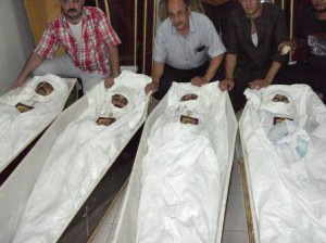 Corpses of the four slain Copts. (Morning Star News photo)