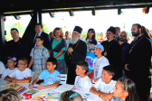 Patriarch Irinej of Serbia meets with Russian Orthodox children spending their vacation in Serbia