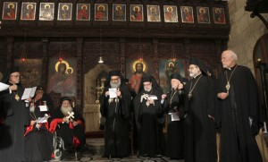 Greek Orthodox Patriarch John Yazigi leads a prayer at the Balamand Monastery in Koura, to call for the release of bishops kidnapped in Syria