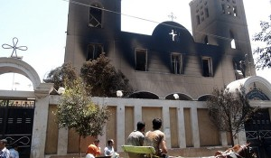 Fire damage at the Prince Tadros Coptic Church in Minya, Egypt.