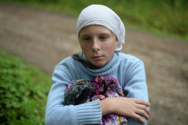 A young pilgrim on the Solovetsky Island in the Arkhangelsk Region.