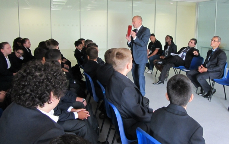 Headteacher Robert Ahearn speaking at the first assembly