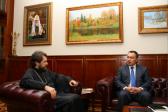 Metropolitan Hilarion of Volokolamsk meets with Ambassador Bolot Junusov of Kyrgyzstan to Russia
