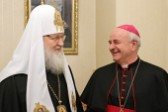 His Holiness Patriarch Kirill receives Archbishop Vincenzo Paglia, President of the Pontifical Council for the Family