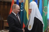 Putin arrives in Cathedral of Christ the Savior to congratulate Patriarch on birthday