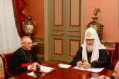 Patriarch Kirill meets with Cardinal Paul Poupard, honorary president of the Pontifical Council for Culture