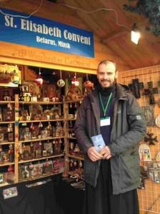 Oleg Kavalenka mans the stall at this year's Christmas market