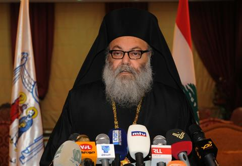 Greek Orthodox Patriarch John X Yazigi speaks during a press conference in Balamand, Thursday, Dec. 5, 2013. (The Daily Star/Taki Louka, HO)