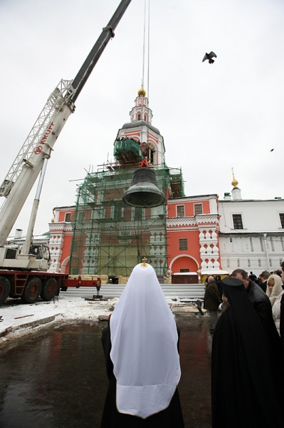 "Morning Lenten divine services and the installation of the ""Big"" bell of the bell tower at the Danilov Monastery."