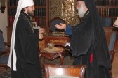 Metropolitan Hilarion greets His Beatitude Patriarch Theodoros II of Alexandria with his Name Day