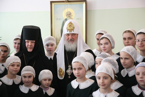 Patriarchal ministry in the Protection Convent in Hotkovo and a visit to the community's orphanage.