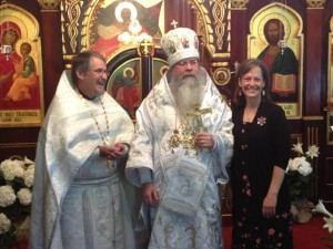 Metropolitan Tikhon with Fr. David and Matushka Rozanne Rucker, missionaries in Guatemala, in 2013.