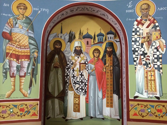 Saints of Alaska. Saints Herman, Innocent, Peter and Juvenaly, flanked by Saints Demetrios and Nicholas