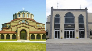St. Demetrios Greek Orthodox Church in Libertyville (left) and Islamic Foundation North in Waukegan (right) both were vandalized Sunday night with the same smiley face and hateful message. (Credit: Facebook)