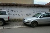 Kosovo: 'Only dead Serb is a good Serb' graffiti on Orthodox church in Djakovica