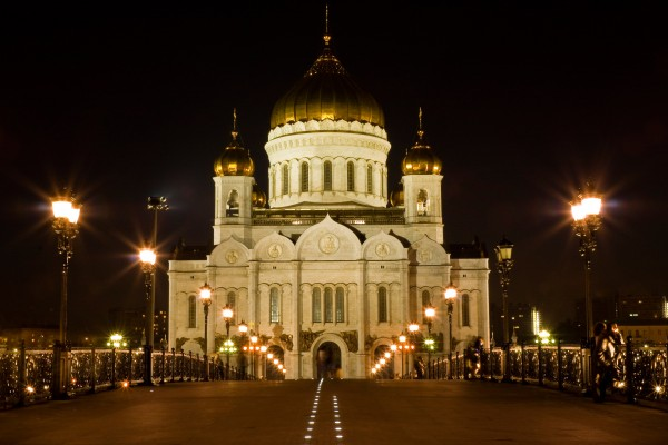 Cathedral of Christ the Savior and St. Basil Cathedral turn off the lights for Earth Hour
