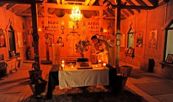 Fr. Sean prepares the chapel for Pascha