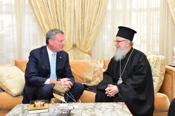 Mayor De Blasio Welcomed Archbishop Demetrios for Greek Independence Day Reception
