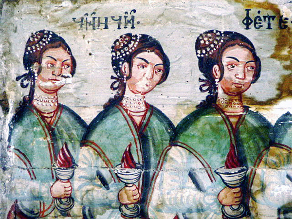 Wise virgins; detail from 18th century wooden church, Ortata, Maramureș