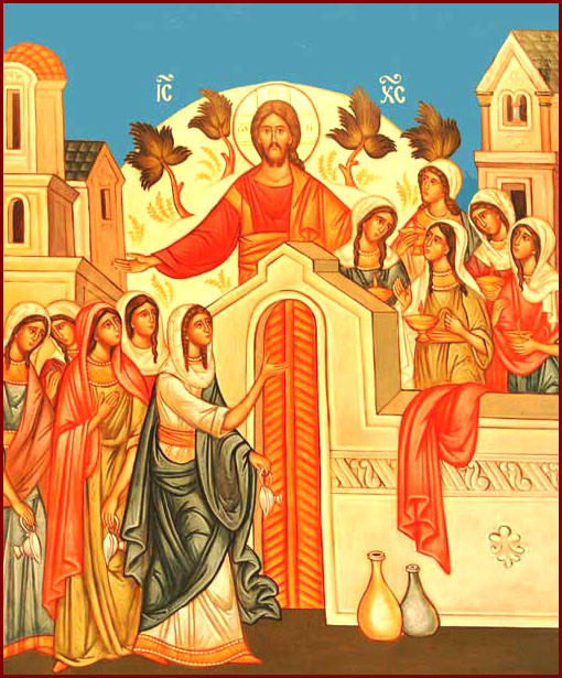 Modern image of High Decani icon, showing the bridal chamber as paradise.
