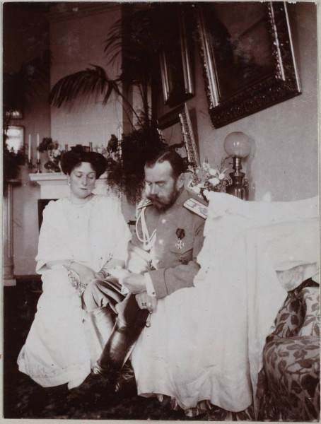 The Emperor and Empress read a telegram with well-wishes for the health of Tsarevich Alexis