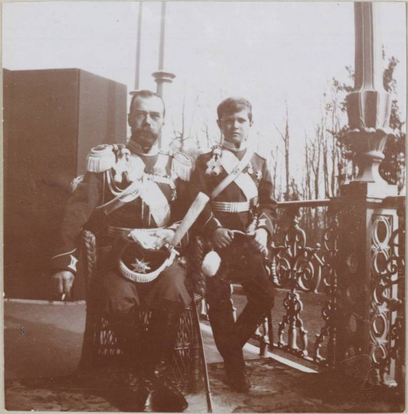 Father and son in the uniform of His Majesty's Life-Guard Cossack Regiment. Balcony of the Alexander Palace