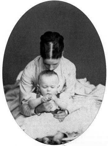 With his mother, Tsarina Maria Feodorovna, 1868-1869.