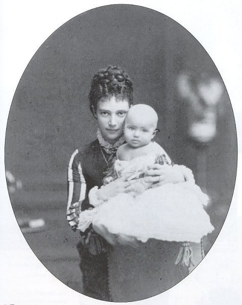 With his mother, Tsarina Maria Feodorovna, 1868.