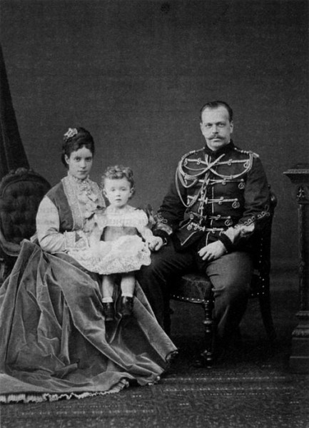 Nicholas with his father, Tsarevich Alexander Alexandrovich, and his mother, Tsarina Maria Feodorovna