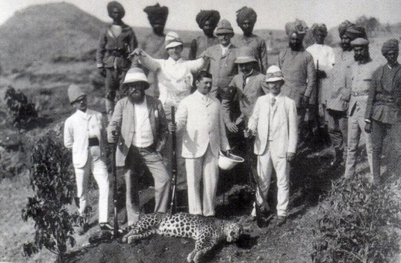 The Tsarevich hunting a leopard in India, 1891