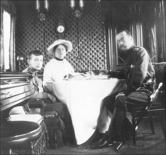 In the Imperial wagon. Nicholas II, Empress Alexandra Feodorovna, and Tsarevich Alexis (spring 1916)