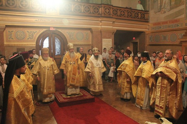 Metropolitan Hilarion (Kapral) Participates in the Celebration of the 700th Anniversary of the Birth of St Sergius of Radonezh in St Nicholas Cathedral