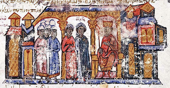 Saint Olga received by Emperor Constantine VII, byzantine manuscript, 12th century