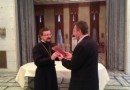Hegumen Arseniy (Sokolov) celebrates prayer service at Russian embassy in Damascus