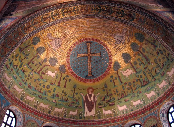Mosiac in the apse of the Church of St. Apollinare in Classe. Middle of the sixth century. Ravenna, Italy.